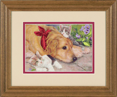 Dimensions - Mini Crewel Embroidery Kit - Lazy Day Pals - Dog & Cat - D06228