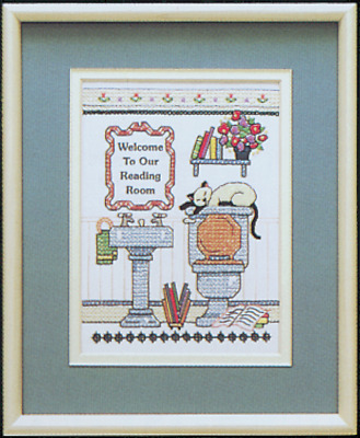 Dimensions - Mini Crewel Embroidery Kit - Reading Room Welcome - Bathroom D06627