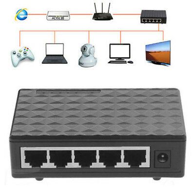 5 Port RJ45 10/100Mbps Desktop Ethernet Network Switch AutoMDI/MDIX Hub EU Plug