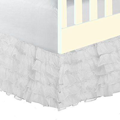 Baby Doll Bedding Layered 5 tiered Nuetral Crib Skirt/Dust Ruffle, White