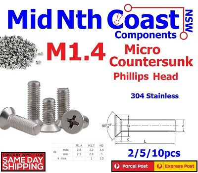 M1.4 x 3/4/5mm Micro Countersunk Phillips Countersunk Screws Stainless Steel