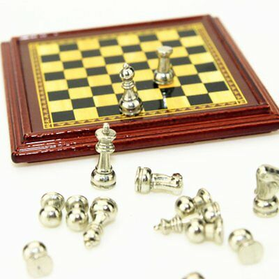 1:12 Scale Dollhouse Miniature Metal Chess Set Board Toys Gold & Silver Pieces