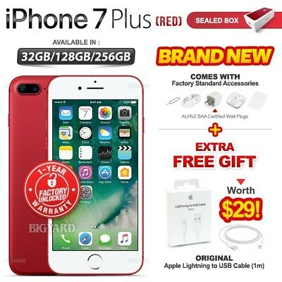 New & Sealed Factory Unlocked APPLE iPhone 7 + Plus  Red 32 128 256GB Smartphone