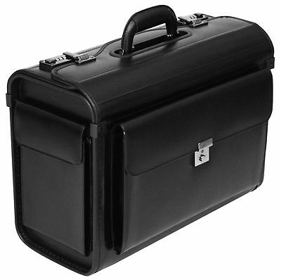 "Leather Pilot Case Briefcase Flight Bag Hand Luggage Business 16"" Laptop Travel"