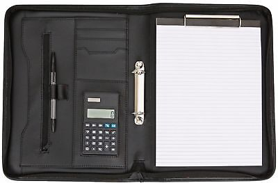 PU Business A4 Zipped Conference Folder Document Case Calculator Paper Clamp