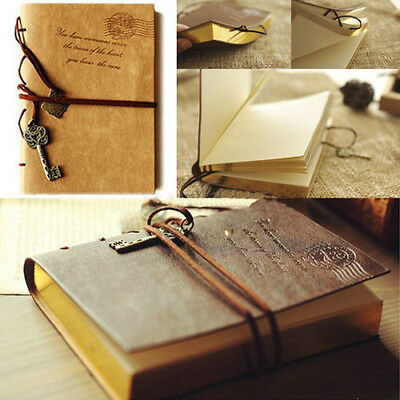 Retro Vintage Notebook Leather Key Blank Diary Note Book Journal Sketchbook New