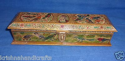 Antique Old Mughal Islamic Fine Birds Floral Painted Camel Bone Pen Box