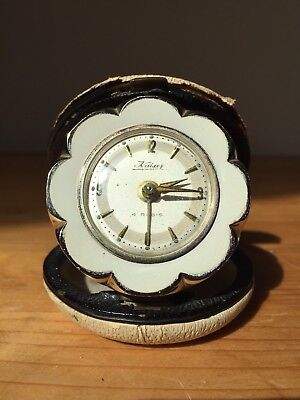 ⭐️Vintage Kaiser 4 Rubis Wind Up Daisy Gold Flower Travel Alarm Clock