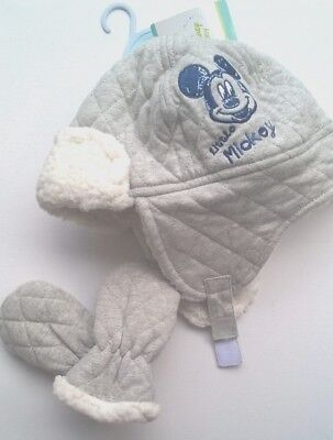 Baby Boys Disney mickey Hat & Mittens 12-23months Fleece lined BNWT