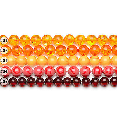 """Mixed Synthetic Amber Gemstone Round Loose Beads 15.5"""" Inches Strand 6 8 10mm"""