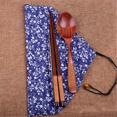 Japanese Tableware Wooden Chopsticks Fork Spoon With Cloth Bags Set NEW LH