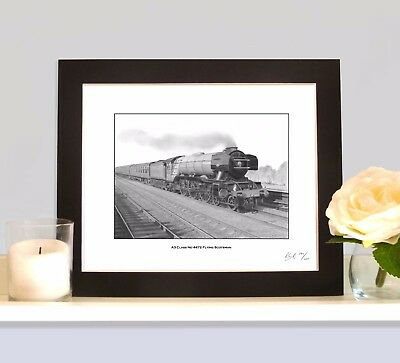 FLYING SCOTSMAN Steam Train MOUNTED Artistic Art Print Picture for wall decor