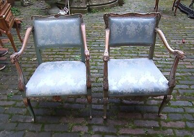 French Carved Oak And Blue Fabric Pair Of Painted Bedroom Armchairs (Cobbc22)