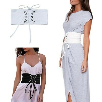 US Women Elastic Corset Belt Wide Stretch Waist Band Adjustable Waistband Buckle