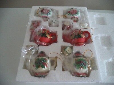 Oriental Trading Company Christmas Holiday tea pot ornaments 6 pc set