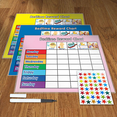Bedtime Reward Training Reward Chart With Pen & Star Stickers - M