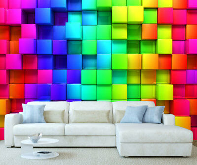 3D Colour Cube Wallpaper Wall Mural Simply Peel and Stick 1135