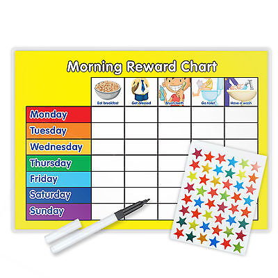 Morning Reward Behaviour Chart Magnetic Available Free Pen & Star Stickers - Y