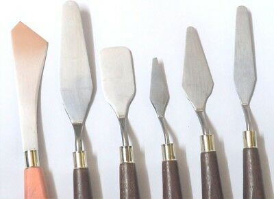 6 Palette Knife Assorted Set Stainless Steel  Spatula Painting Oil and Acrylic