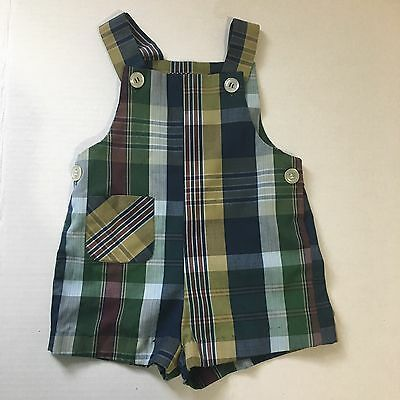 Vintage Healthtex Plaid Jon Jon Boys 2T Romper Brown Green Shortalls Fall Colors