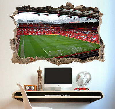 Manchester United Stadium Wall Sticker 3D Look - Boys Kids Football Bedroom