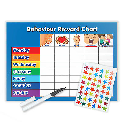 Behaviour Reward Chart Magnetic Available With Free Pen & Star Stickers - B