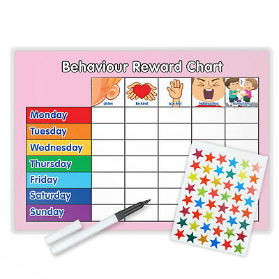Behaviour Reward Chart With Free Pen & Star Stickers - Magnetic Available - Pink