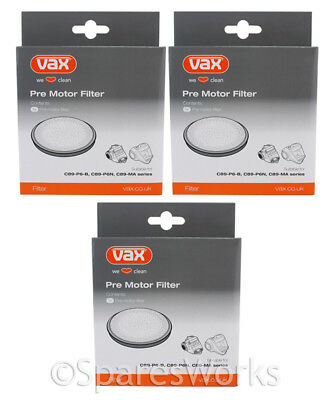 VAX Vacuum Cleaner Genuine Type B Pre Motor Filter C89-P6-B C89-P6N C89-MA x 3