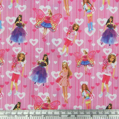 Fabric Barbie Doll Pink Fairy Fashion Polycotton Sold By 1/2 Yard 1/2 Meter