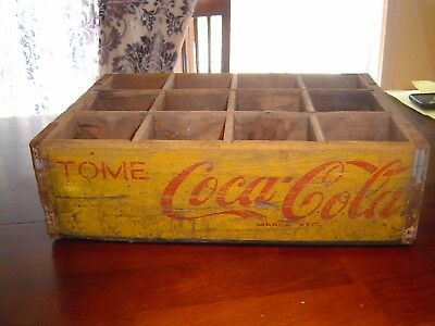 Very Rare Red Yellow Tome Coca Cola Marca Reg. Large bottle wooden crate carrier
