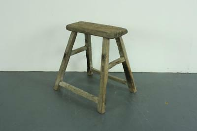 VINTAGE RUSTIC ANTIQUE WOODEN STOOL MILKING EXTRA LARGE No L166