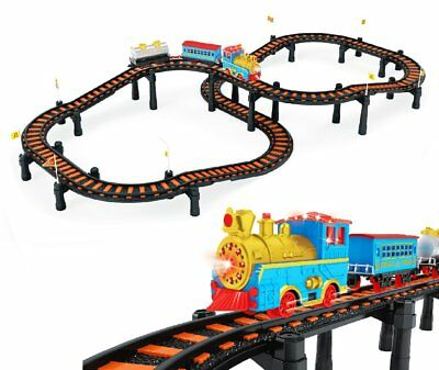 Deluxe Classic Electric Train Model Toy Set with 3 Cars and 12 Feet of Tracks &
