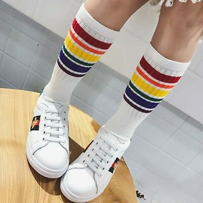 Kids Funny Knee High Socks Novelty Rainbow Cottton Socks Boys Girls Long Socks