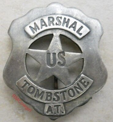 US Marshal Tombstone Western Silver Plated Badge Old Western #BW34