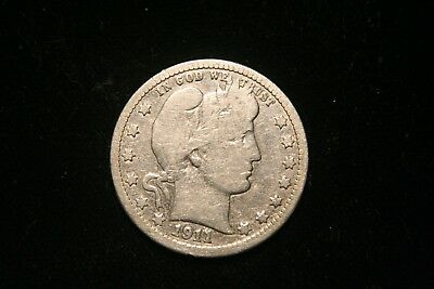 1911 Barber Silver Quarter, US Coin , GOOD , Free Shipping!
