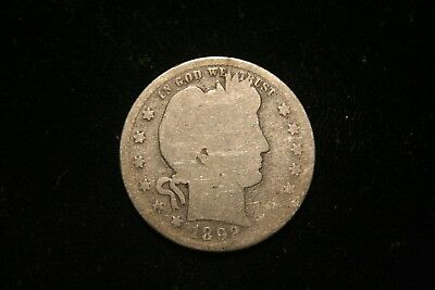 1892 S Barber Silver Quarter, US Coin ,  GOOD , Free Shipping!