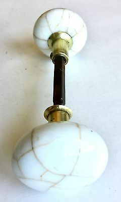 Four Original Veined Porcelain And Glass Antique Doorknobs With Stems