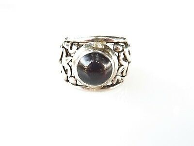 Vintage Sterling Silver Islamic Near East Ring With Large Cabochon Garnet Size 8
