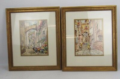 """Pair Of Watercolors """"Street Scene In Rome"""" Matching Frames Signed A. Amiato"""