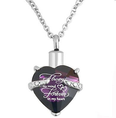 Heart Cremation Urn Necklace for Ashes Urn Jewelry Memorial Pendant with Fill...