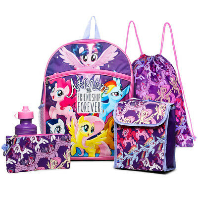 My Little Pony 5 piece School Backpack Set - Insulated Lunch bag, Water Bottle