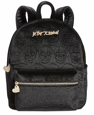 Betsey Johnson HEAD OF THE CLASS VELVET SKULLS BACKPACK witch gothic punk occult