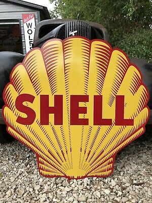 "Antique Vintage Old Style Shell Gasoline And Oil Sign 40""!"