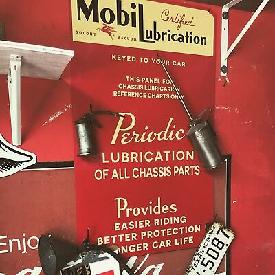 "Antique Vintage Old Style Mobilubrication Mobil Gas Oil Sign 38""!"