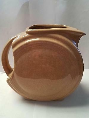 """Vintage Pottery Tan and Brown Country / Farm / Kitchen 7"""" Pitcher with handle"""