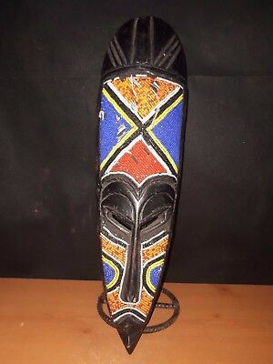 Beautiful Beaded Fang Mask Elongated Decorative Gabon  --Fest- BR323