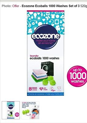 Ecozone Ecoballs 1000 washing system 3 balls 1 stain remover,W@W FREE CUBES !!