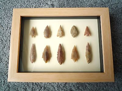 Neolithic Arrowheads in 3D Picture Frame, Authentic Artifacts 4000BC (1053)