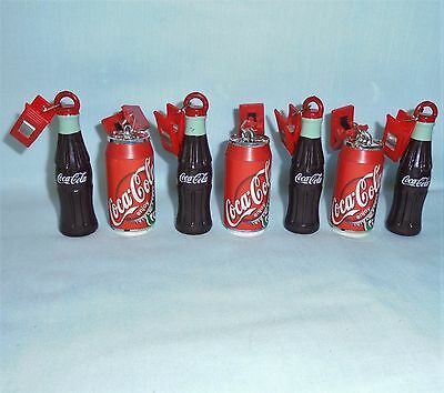 Coca Cola Soda Mini Coke Glass Bottle Metal Can Clips Clamps On Ornament 1990's