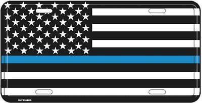 Police Policeman American Thin Blue Line License Plate Tag Made in USA (RAM)